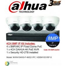 Dahua 4ch 8MP 4K Fixed Dome Kit