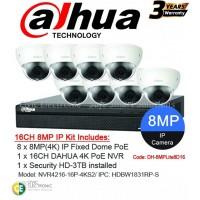 Dahua 16ch 8MP 4K Fixed Dome Kit