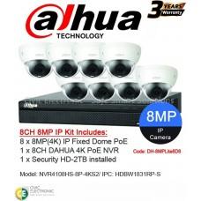 Dahua 8ch 8MP 4K Fixed Dome Kit