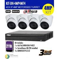4MP Dahua 4CH IP Motorised Turret Bundle Kit