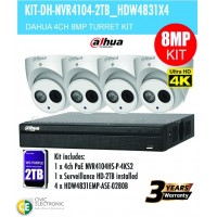 8MP Dahua 4CH IP Bundle Turret Kit