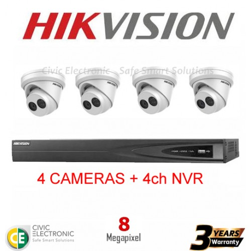 Hikvision 4ch 8MP Turret Kit