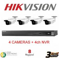 Hikvision 4ch 8MP Bullet Kit