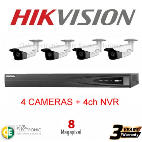 Hikvision 4ch 8MP Bullet Kit