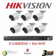 Hikvision 6ch 6MP Mini Bullet Kit