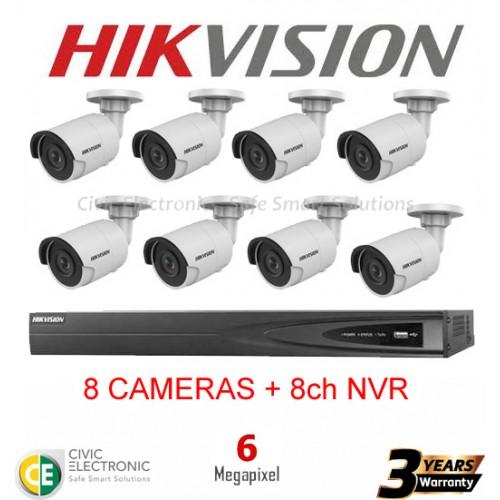 Hikvision 8ch 6MP Mini Bullet Kit