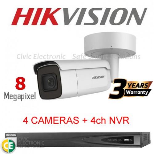 Hikvision 4ch 8MP Motorised VF Bullet Kit