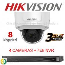 Hikvision 4ch 8MP Motorised VF Dome Kit