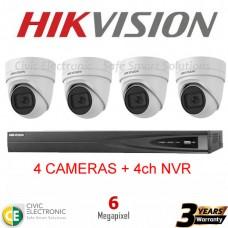 Hikvision 4ch 6MP Motorised VF Turret Kit