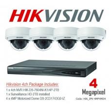 Hikvision 4MP IP 4ch Motorized Dome Bundle Kit