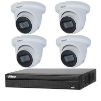 Dahua 8MP 4CH CCTV Kit: 4 x IP Starlight Eyeball Turret Cameras + 4CH NVR