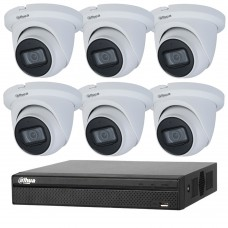 Dahua 8MP 8CH CCTV Kit: 6 x IP Starlight Eyeball Turret Cameras + 8CH NVR