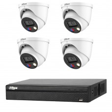 Dahua 8MP 4CH CCTV Kit: 4 x 8MP Full-color TIOC Active Deterrence WizSense Cameras + 4CH NVR
