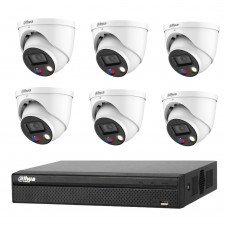 Dahua 8MP 8CH CCTV Kit: 6 x 8MP Full-color TIOC Active Deterrence WizSense Cameras + 8CH NVR