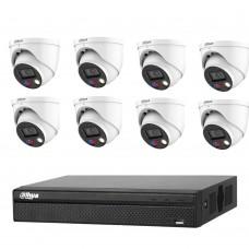 Dahua 8MP 8CH CCTV Kit: 8 x 8MP Full-color TIOC Active Deterrence WizSense Cameras + 8CH PRO NVR