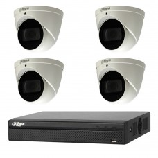 Dahua 6MP 4CH CCTV Kit: 4 x IP Motorised Turret Cameras + 4CH NVR