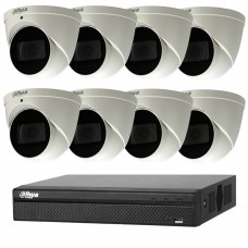 Dahua 6MP 8CH CCTV Kit: 8 x IP Motorised Turret Cameras + 8CH NVR