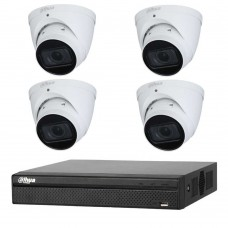 Dahua 8MP 4CH CCTV Kit: 4 x IP Starlight Motorised Turret Cameras + 4CH NVR