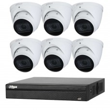Dahua 8MP 8CH CCTV Kit: 6 x IP Starlight Motorised Turret Cameras + 8CH NVR
