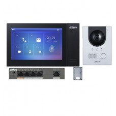 Dahua KIT-DHI-7INBLK2202F-P 7inch Touch Screen IP Intercom Kit - Black