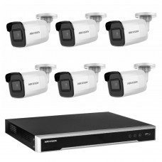 Hikvision 8MP CCTV Kit: 6 x IP Darkfighter Mini Bullet Cameras + 8CH NVR