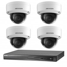 Hikvision 6MP 4CH CCTV Kit: 4 x IP Darkfighter Dome Cameras + 4CH NVR