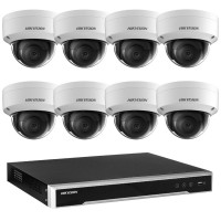 Hikvision 6MP 8CH CCTV Kit: 8 x IP Darkfighter Dome Cameras + 8CH NVR