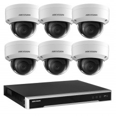 Hikvision 8MP 8CH CCTV Kit: 6 x IP Dome Cameras + 8CH NVR
