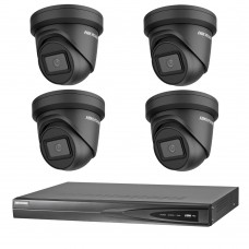 Hikvision 6MP 4CH CCTV Kit: 4 x IP Black Darkfighter Turret Cameras + 4CH NVR