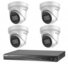 Hikvision 8MP 4CH CCTV Kit: 4 x IP Darkfighter Turret Cameras + 4CH NVR