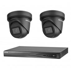 Hikvision 6MP 4CH CCTV Kit: 2 x IP Black Darkfighter Turret Cameras + 4CH NVR
