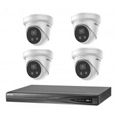 Hikvision 8MP 4CH CCTV Kit: 4 x IP AcuSense Turret Cameras + 4CH NVR