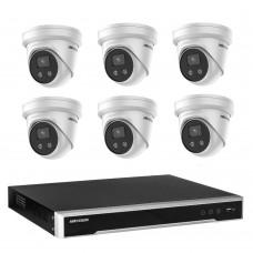 Hikvision 8MP 8CH CCTV Kit: 6 x IP AcuSense Turret Cameras + 8CH NVR