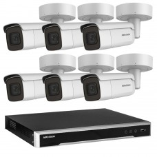 Hikvision 6MP CCTV Kit: 6 x IP Motorised Varifocal Bullet Cameras + 8CH NVR