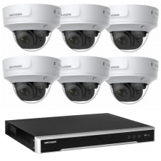 Hikvision 6MP CCTV Kit: 6 x IP Darkfighter Motorised Varifocal Dome Cameras + 8CH NVR