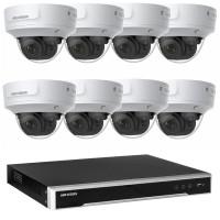 Hikvision 6MP CCTV Kit: 8 x IP Darkfighter Motorised Varifocal Dome Cameras + 8CH NVR