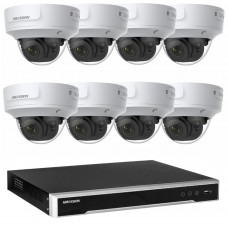 Hikvision 6MP CCTV Kit: 8 x IP Darkfighter Motorised Varifocal Dome Cameras + 8CH NVR
