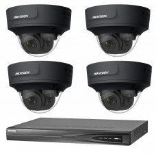 Hikvision 6MP CCTV Kit: 4 x IP Darkfighter Motorised Varifocal Black Dome Cameras + 4CH NVR
