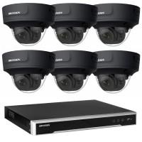 Hikvision 6MP CCTV Kit: 6 x IP Darkfighter Motorised Varifocal Black Dome Cameras + 8CH NVR