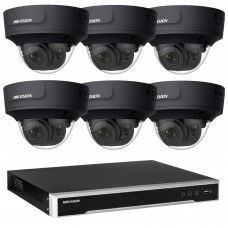 Hikvision 6MP CCTV Kit: 6 x IP Darkfighter Motorised Varifocal Black Dome Cameras + 8CH NVR