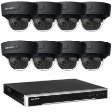 Hikvision 6MP CCTV Kit: 8 x IP Darkfighter Motorised Varifocal Black Dome Cameras + 8CH NVR