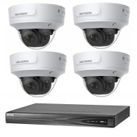 Hikvision 8MP CCTV Kit: 4 x IP Darkfighter Motorised Varifocal Dome Cameras + 4CH NVR
