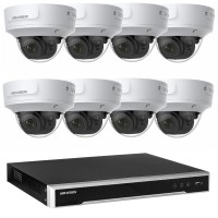 Hikvision 8MP CCTV Kit: 8 x IP Darkfighter Motorised Varifocal Dome Cameras + 8CH NVR