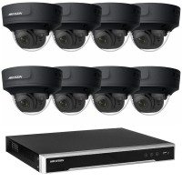 Hikvision 8MP CCTV Kit: 8 x IP Darkfighter Motorised Varifocal Black Dome Cameras + 8CH NVR