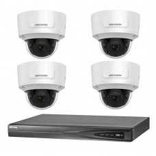 Hikvision 6MP 4CH CCTV Kit: 4 x IP Motorised Varifocal Dome Cameras + 4CH NVR