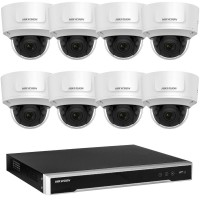 Hikvision 6MP 8CH CCTV Kit: 8 x IP Motorised Varifocal Dome Cameras + 8CH NVR