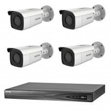 Hikvision 6MP 4CH CCTV Kit: 4 x IP Darkfighter Bullet Cameras + 4CH NVR