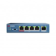 Hikvision DS-3E0105P-E 4 Port Unmanaged PoE Switch, 1x100M Uplink, 802.3af/at, 58W